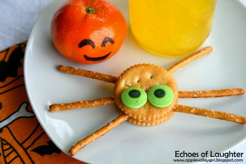 Ritz Spider Crackers plus lots of other fun and heathy Halloween food ideas.