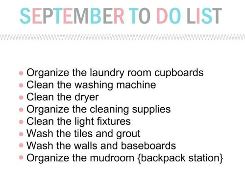 September To Do List for the Household Organization Diet