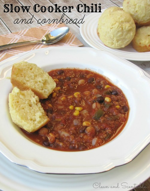 Slow cooker chili and cornbread recipe.