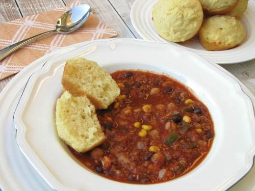 Slow Cooker Chili and Cornbread.  Perfect for a winter's night!