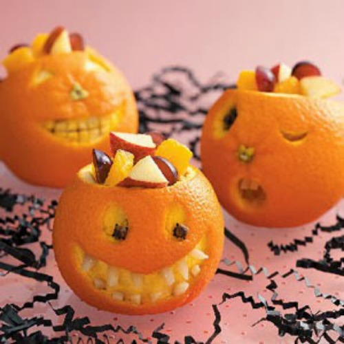 Jack-O-Lantern Fruit Cups plus lots of other fun and healthy Halloween food ideas.