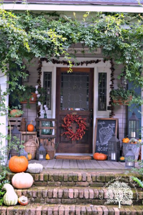 Autumn Front Porch and other pumpkin decor and recipe ideas.
