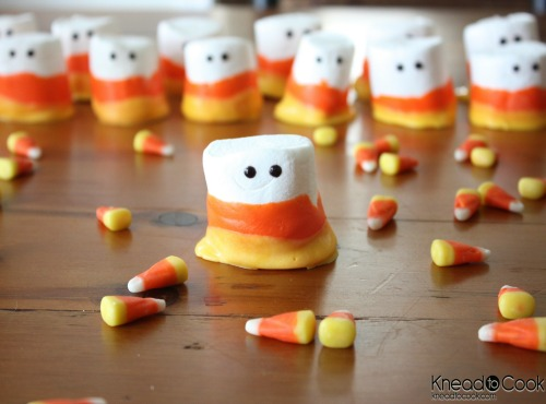 Candy corn marshmallow ghosts and lots of other fun candy corn inspired ideas!