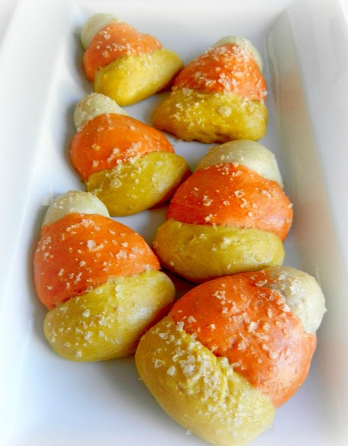 Candy corn pretzels.  Lots of other fun candy corn ideas too!