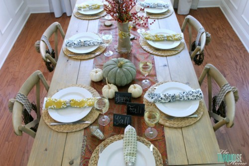Fall tablescape with pumpkin centerpiece and other fun pumpkin ideas.