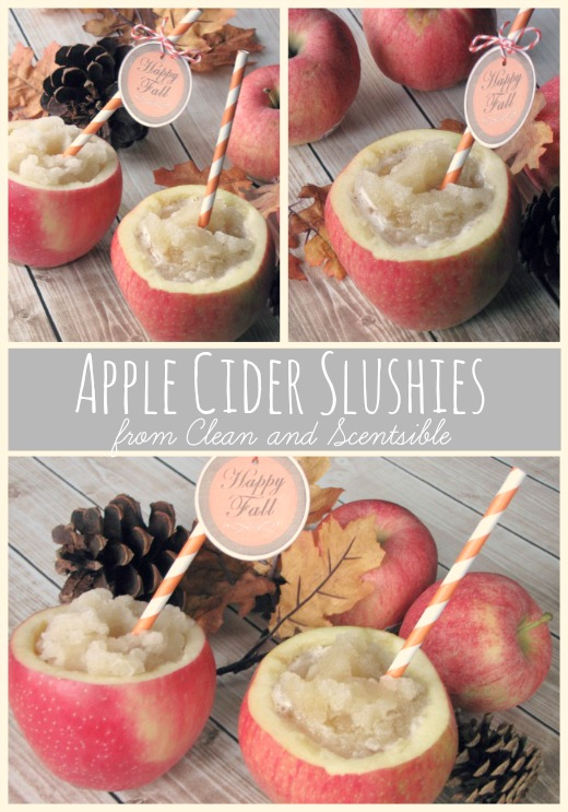 The perfect apple cider slushie!  Works with regular apple juice too.