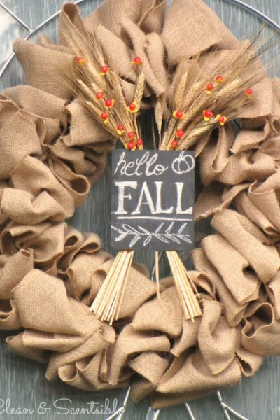 Burap Fall Wreath and other ideas for decorating your front porch for fall.