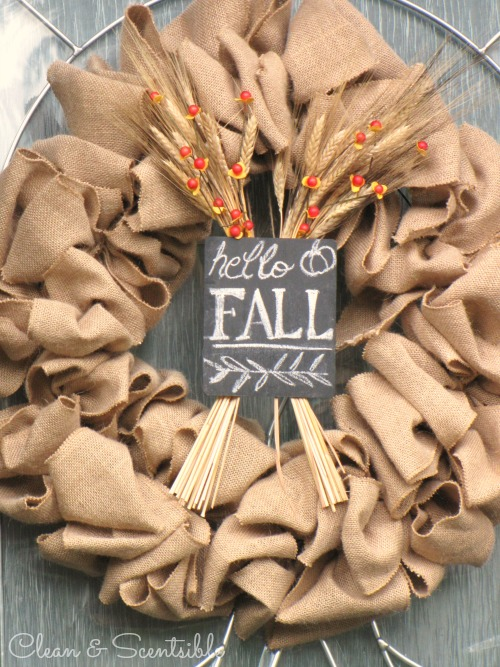 Burap Fall Wreath and other Outdoor Fall Decorating Ideas.