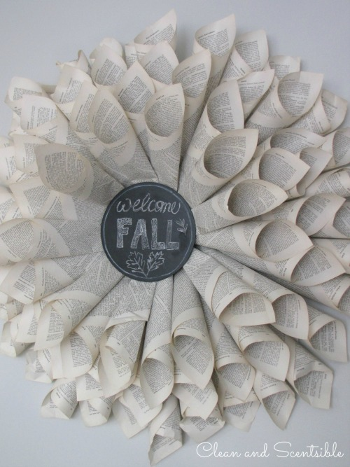 Fall Home Tour - Fall Interchangeable book page wreath.