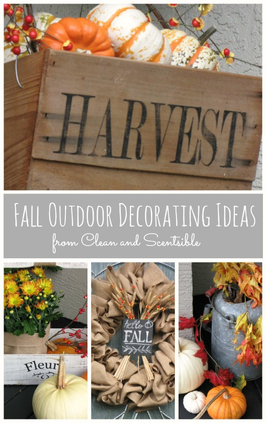 Lots of outdoor decorating ideas for your fall front porch!  Love the hanging baskets filled with pumpkins!