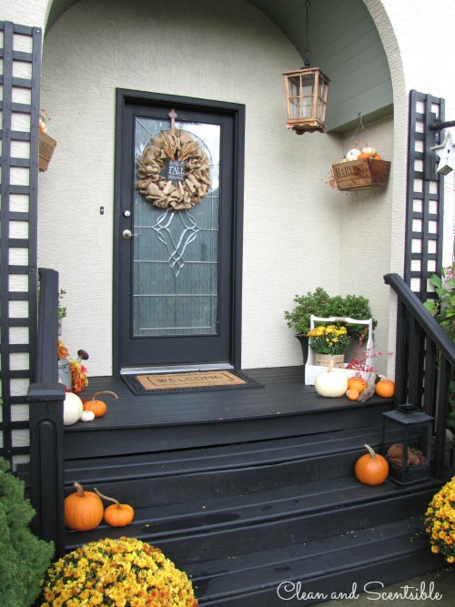 Fall front porch and other outdoor decorating ideas.