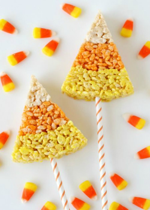 Candy corn Rice Krispie pops and lots of other fun candy corn inspired food ideas!