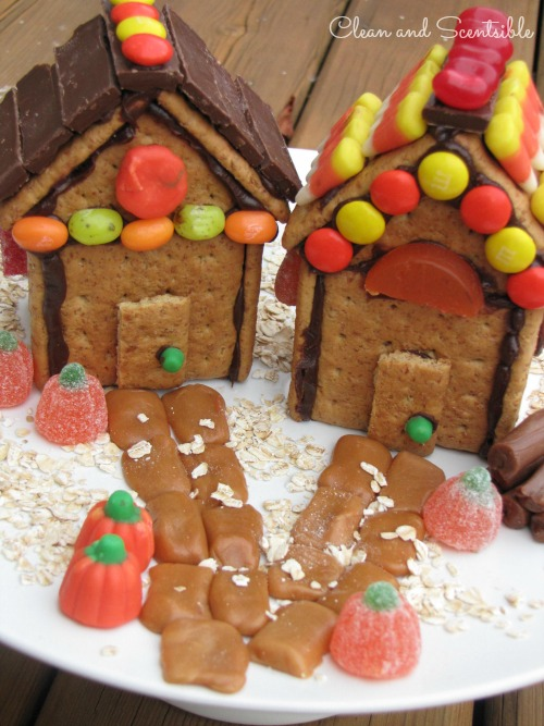 "Thanksgiving or fall ""gingerbread"" house made from graham crackers and left over Halloween candy - great way to use your candy stash!"