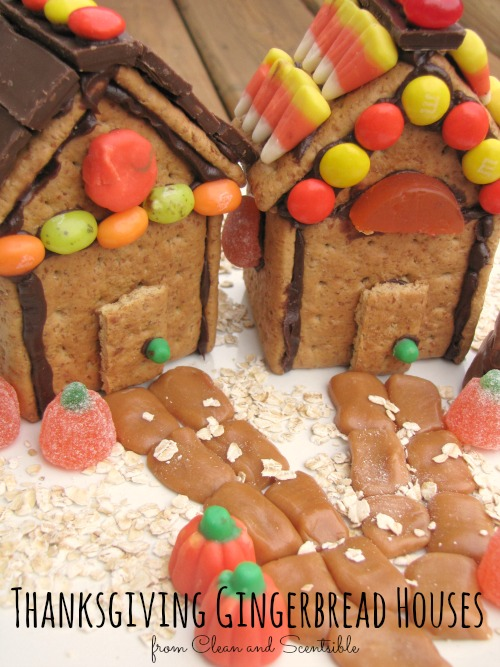 Thanksgiving Houses made with graham crackers and left over Halloween candy.  Great way to use up your candy stash!