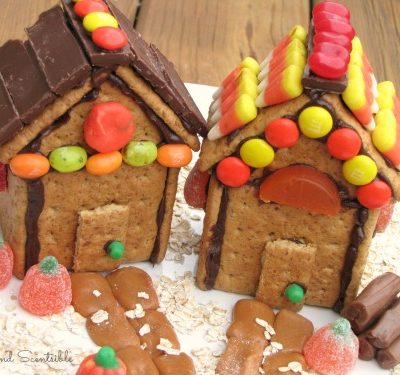 Cute Thanksgiving or fall house made from graham crackers and left over Halloween candy - great way to use up your candy stash!