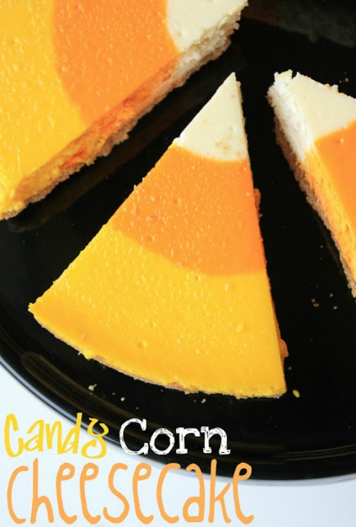 Candy corn cheesecake and lots of other fun candy corn inspired ideas!