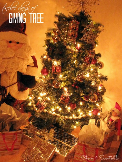 """12 days of Giving Tree - Write down 12 """"giving activities"""" to do with your children throughout the holiday season to teach them the true spirit of Christmas."""