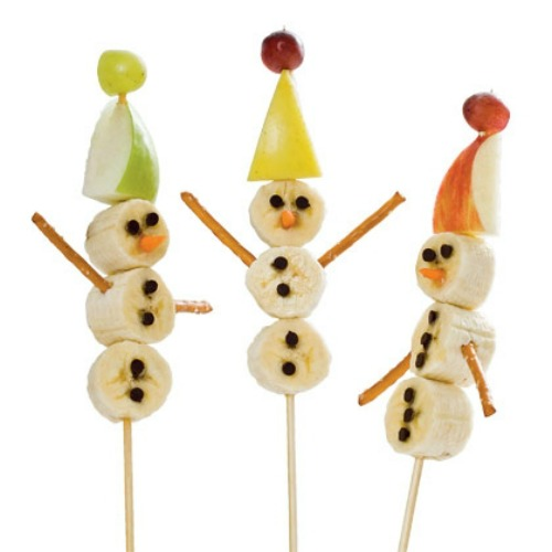 Banana snowmen and 20 other fun and healthy Christmas food ideas.