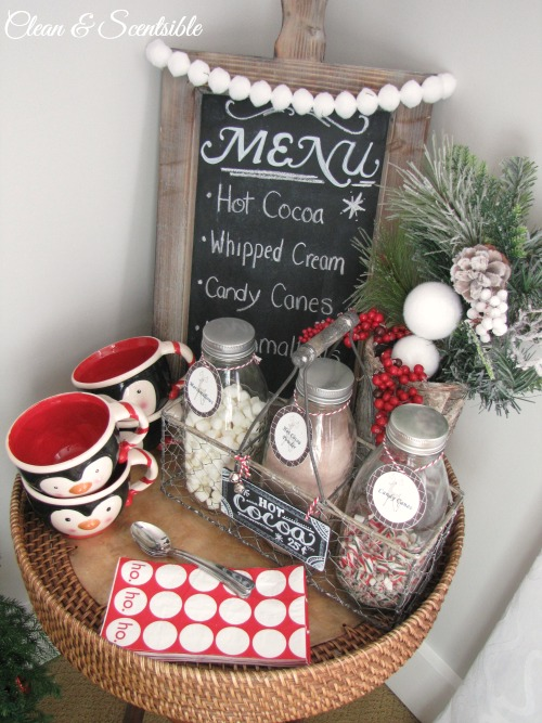 Cute candy cane hot cocoa bar!