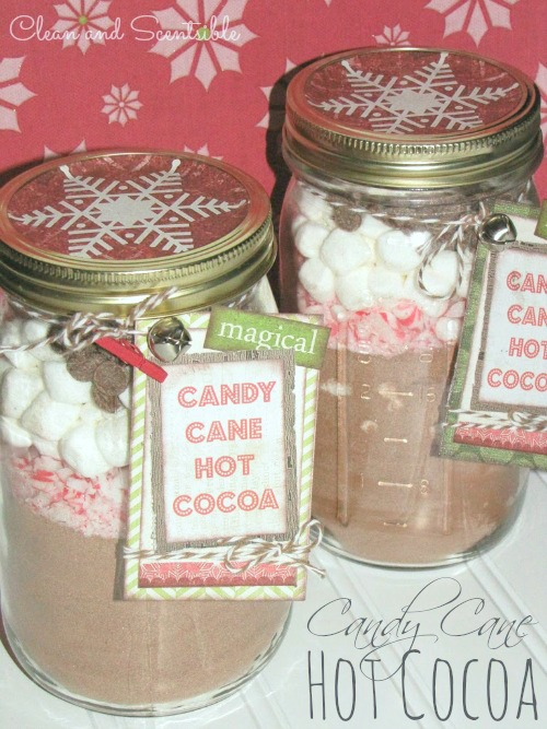Candy cane hot chocolate in a jar - quick and easy gift idea!