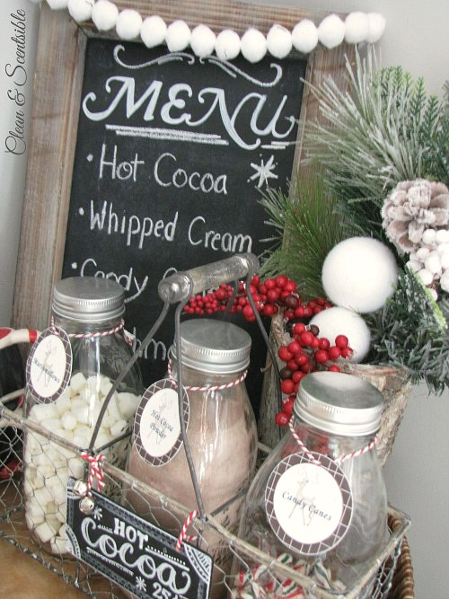 Cute candy cane hot cocoa bar! //cleanandscentsible.com