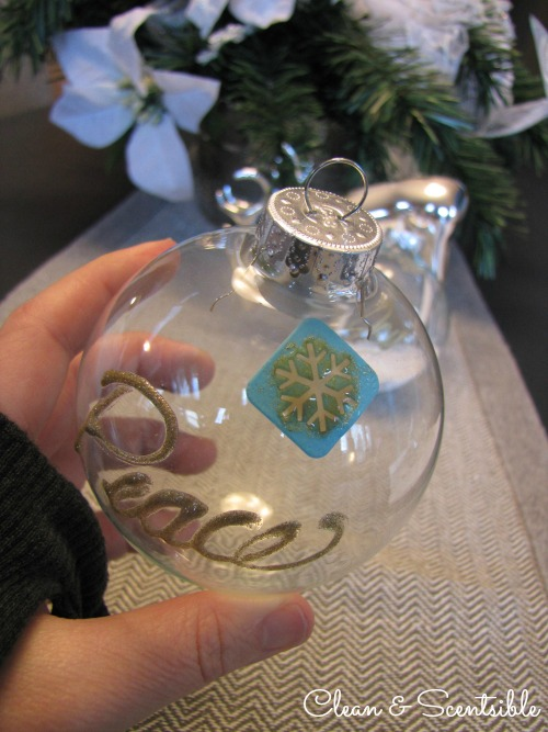 Glass etched Christmas ornaments.