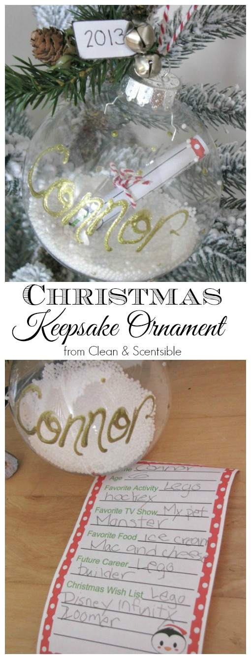 Sweet Christmas keepsake ornament.  Write down some of your child's favorites and roll it up into the ornament. So fun to look back on in Christmas' to come!  Free printable included.