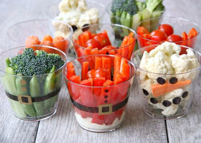 Cute Christmas veggie cups for a healthy Christmas snack.