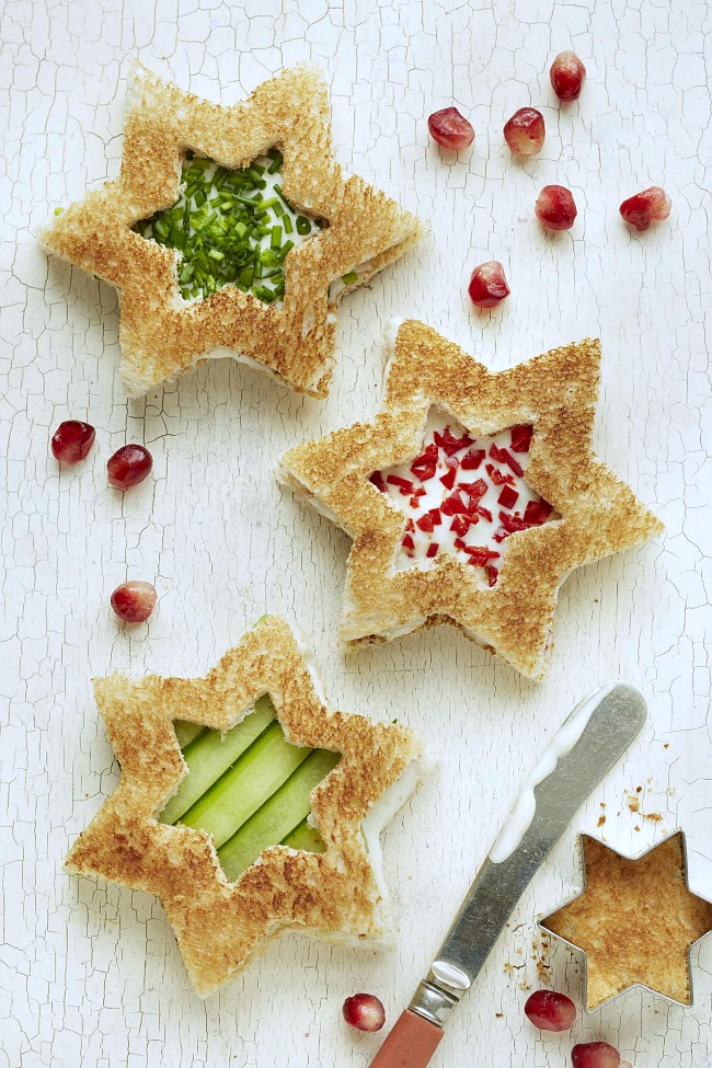 Christmas star cut out sandwiches for a fun and healthy Christmas snack, lunch, or party idea.