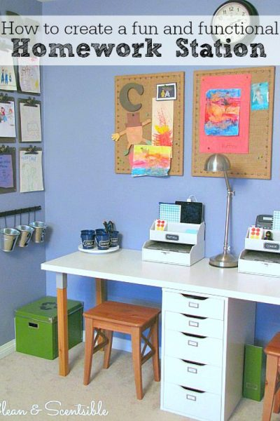 Great ideas on how to create a kids' homework station! // cleanandscentsible.com