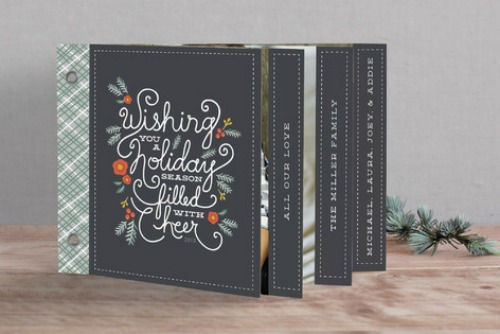 Mini-book Christmas card design from minted.  Free printable to organize your Christmas card list included!