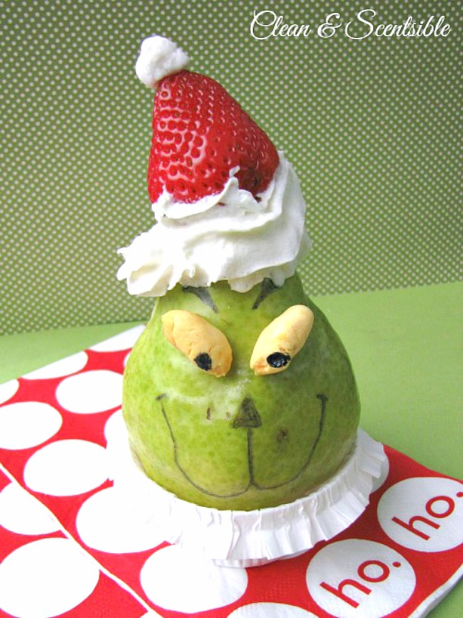 Grinch snack made from a pear and strawberry.
