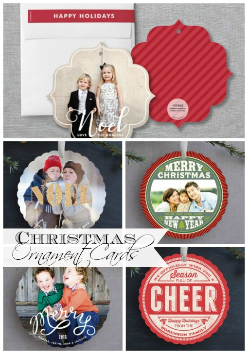 Let's Get Organized for Christmas - Christmas Cards.Send hanging ornaments for Christmas cards {designs from Minted}.  Free pinrtable Christmas card mailing list included.
