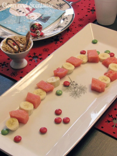 Fruit candycane and 20 other fun and heathy Christmas food ideas!