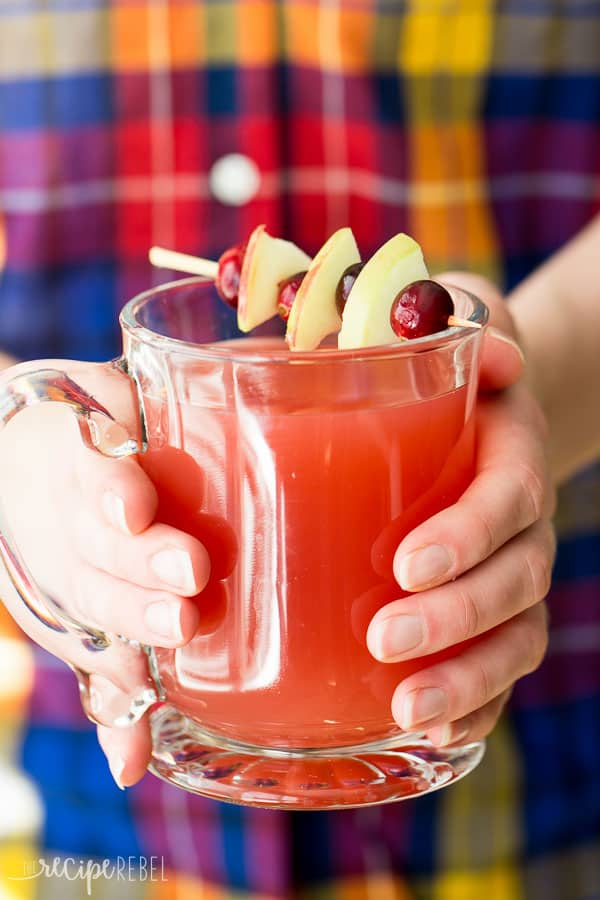 Cup of slow cooker cranberry apple cider to celebrate the holidays.