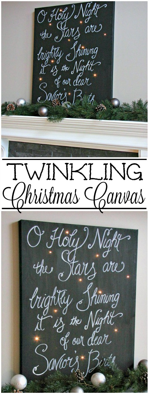 Create a beautiful holiday sign with a canvas and Christmas lights. So pretty!