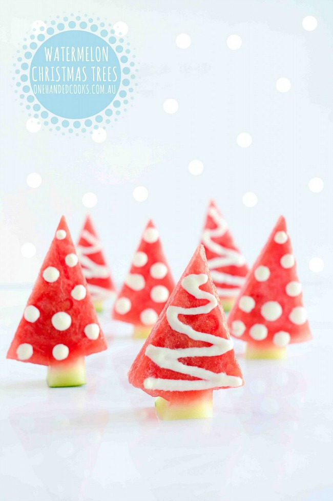 Watermelon Christmas trees and healthy Christmas snacks.