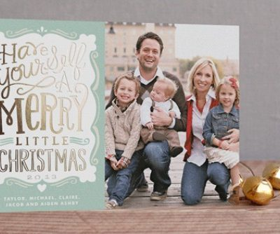 Foil pressed cards and free printable to organize your Christmas card list!