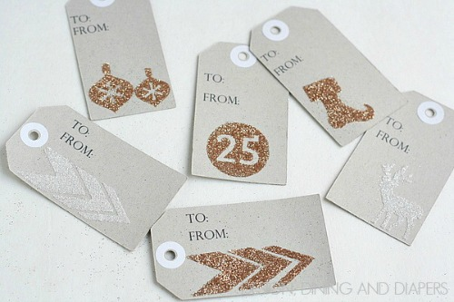 Glitter chipboard gift tags and other Christmas inspiration ideas.