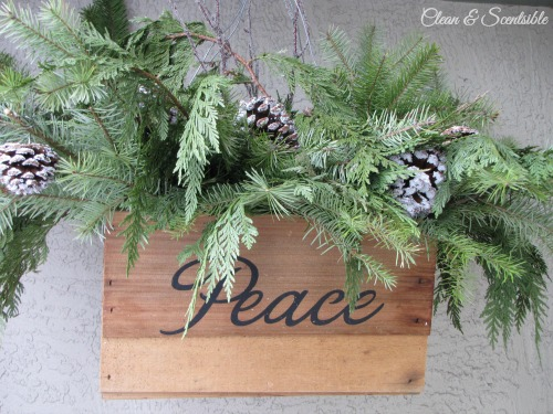 Rustic Christmas basket and other ideas for decorating your front porch.