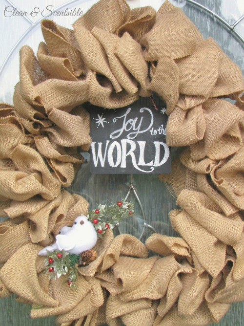 Quick and easy burlap Christmas wreath.  This could easily be changed up for other seasons and holidays!