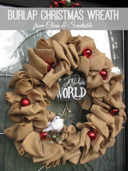 quick and easy burlap christmas wreath - Burlap Christmas Wreath