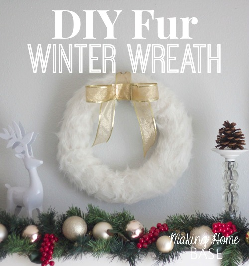 DIY Fur Winter Wreath and other Christmas craft ideas