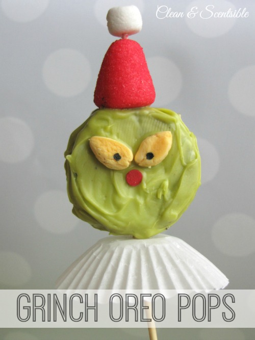 These Oreo Grinch pops are so cute!  They'd make a fun treat for a night of watching The Grinch Who Stole Christmas!