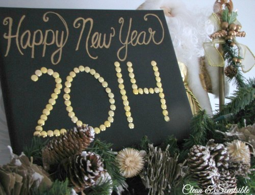 Quick and easy New Years Sign with thumb tacks and styrofoam!  Takes 10 minutes!