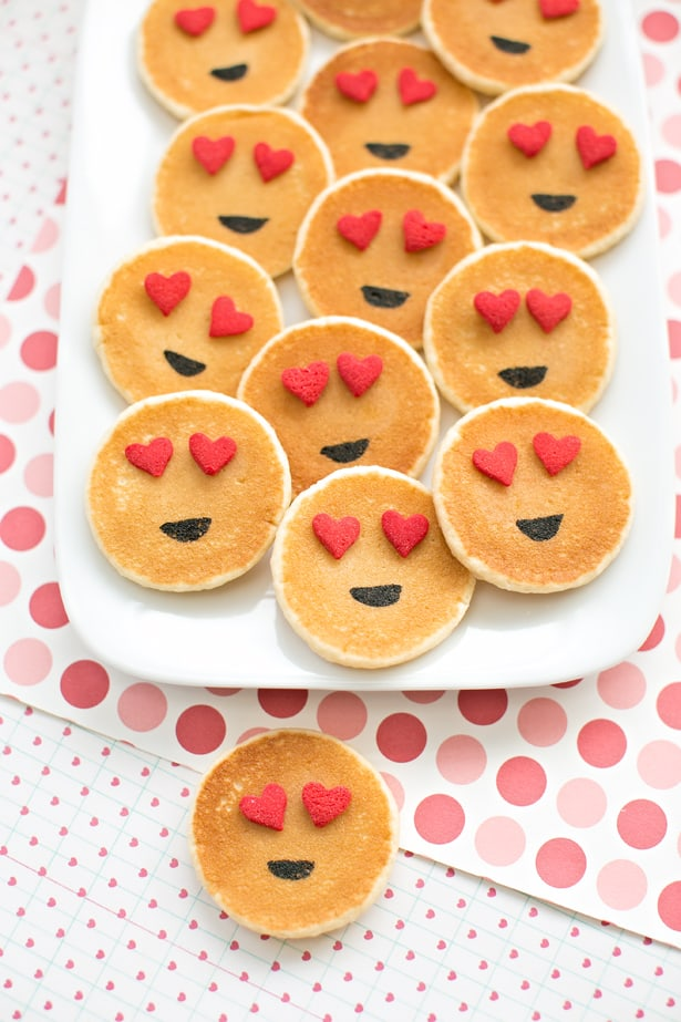 Mini emoji pancakes for Valentine's Day breakfast.