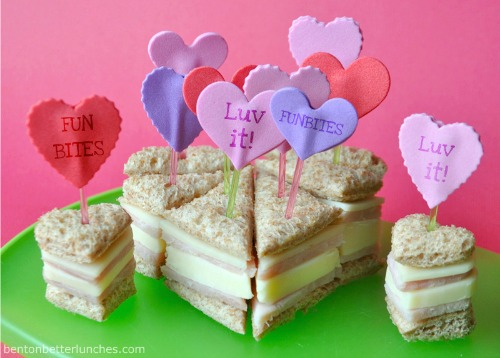 Conversation heart mini sandwich stackers and lots of other healthy Valentine's Day food ideas.