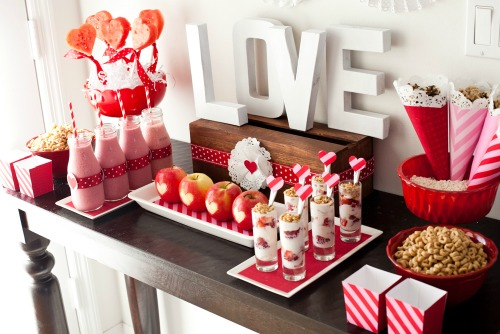 Healthy dessert table and lots of other healthy Valentine's Day food ideas.