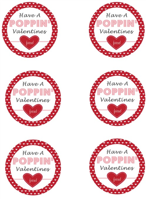 graphic about Valentine's Day Tags Printable identified as Popcorn Pops and Valentines Working day Printables - New and
