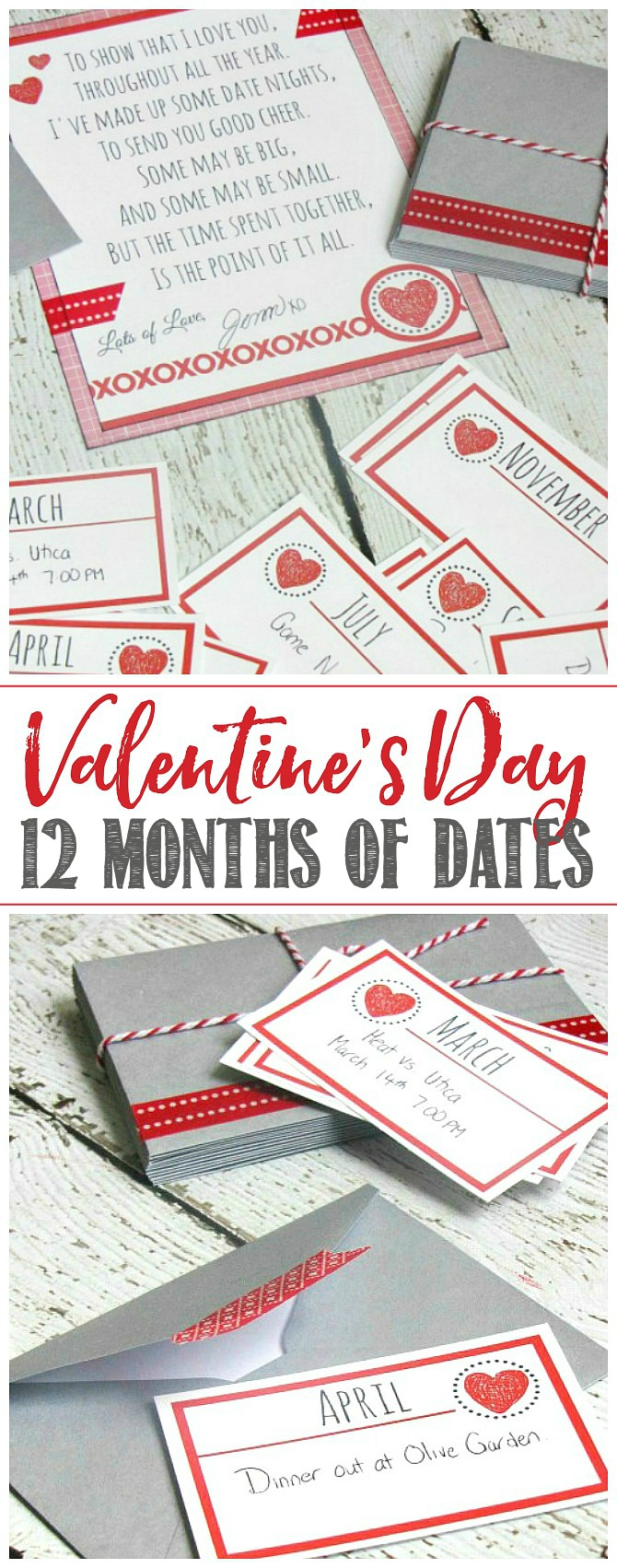 12 months of dates Valentine's Day printables and poem.